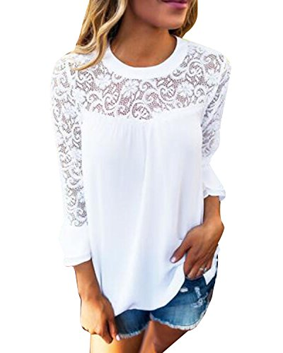 Auxo Damen Langarm Shirt mit Spitze T-Shirt Rundhals Oberteile Tops Basic Tunika Weiß EU 46/Etikettgröße XL