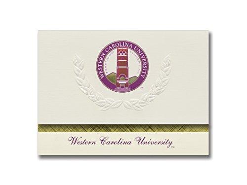 Signature Ankündigungen Western Carolina University Graduation Ankündigungen, platin Stil, Basic Pack 20mit Western Carolina u. Dichtung Folie Western Carolina University