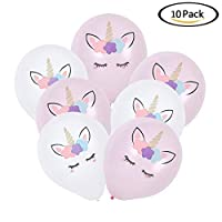Christ For Givek 10 Pcs 10 inches Unicorn Balloon, Unicorn Birthday Party Wedding Baby Shower Decorations Pink and White