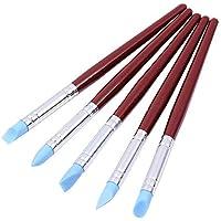 Pack de 5 de Caucho de Silicona Flexible plastilina Wipe out Herramientas Puntas Suaves Shapers Nail Art Pen brochas Escultura Cerámica sellador