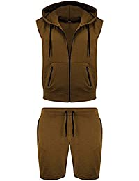 Mens Sleeveless Gym Hooded Sweatshirt Summer Gilet Fleece Hoodie Top Short Set