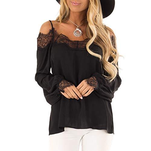 ♥ Loveso♥ Damen Spitze Patchwork Bluse Spaghetti Strap Shirt Elegante Damenbekleidung