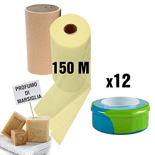 Recarga universal no original, compatible con los Contenedores de Pañales Sangenic, Angelcare y Little Locker II con perfume de jabón de Marsella + rollo de cartón para rellenar fácil