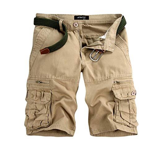 TEBAISE Pants Pure Color Shorts Herren Outdoor Taschen Strand Arbeit Hosen Cargo Pant 3/4 Herren Cargo Short Hose (Beige,34)