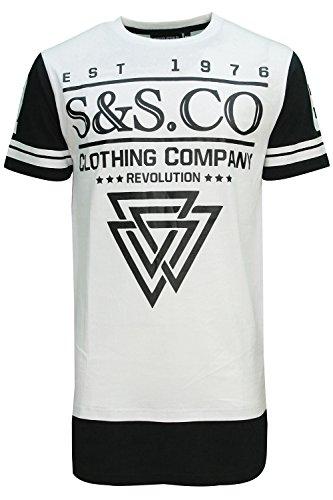 Herren Soulstar Eamon Langleine T-shirt Längere Länge Graphischer Aufdruck T-shirt Top Weiß