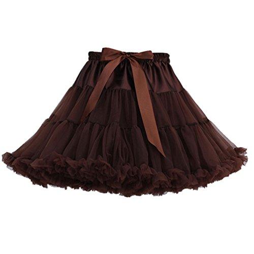 Tütü Damen Tüllrock Mädchen Ballet Tutu Rock Petticoat Unterrock Kostüm Tüll Röcke überlagerte Rüsche Festliche Tütüs Erwachsene Pettiskirt Ballerina Für Dirndl Mini Rock Layered Kaffee