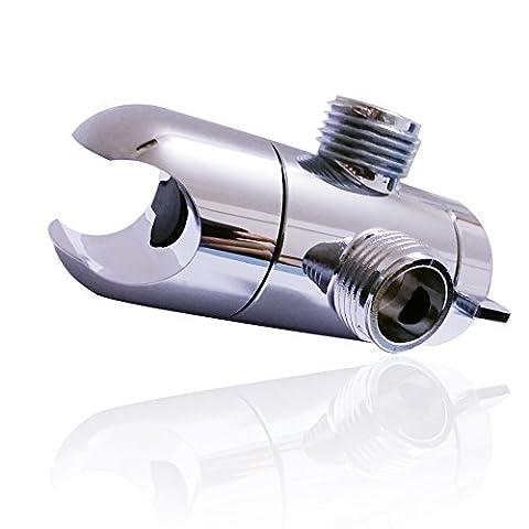 Bras de douche Inverseur avec essuie-tout support universel de douchette Inverseur 3voies 1/5,1cm Bras de douche Splitter pour douchette composants la douche–Chrome
