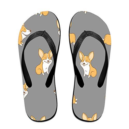 Iop 90p Cute Corgi Flip Flops Hausschuhe Strand Sandalen Pool Schuhe, PVC, Schwarz, S -