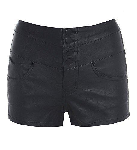 SS7 Damen Kunstleder hohe Taille Shorts, schwarz, Größen 6 bis 14 - Schwarz, EU 38 / UK 10