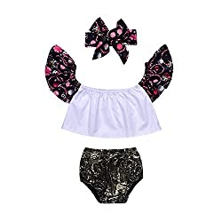 3Pcs Newborn Baby Girls Floral Off Shoulder Top+Glitter Pant with Headband Outfit Sunsuit Set (6-12Months)