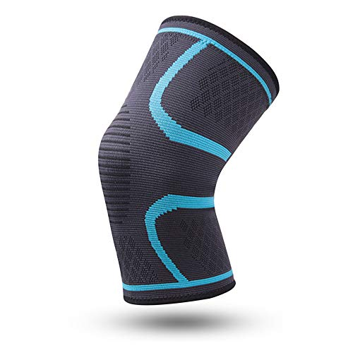 WXQQ SportKompression Knie Sleeve für Damen & Herren - Elastische Kniebandage - Atmungsaktive Kniestütze bei Meniskus-Beschwerden, Knie Arthrose, Sehnenentzündung & BänderrissBlue1