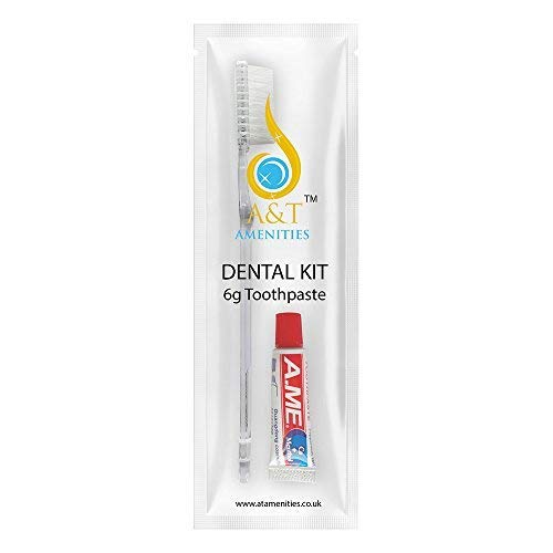 Dental Kit Zahnbürste mit 5 gr Zahnpasta, einzeln verpackt, 50 Stück, ideal für Hotels, B&B und Reisen -