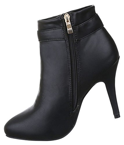 Damen Stiefeletten Schuhe High Heels Ankle Boots Schwarz neonpink beige 36 37 38 39 40 41 Schwarz