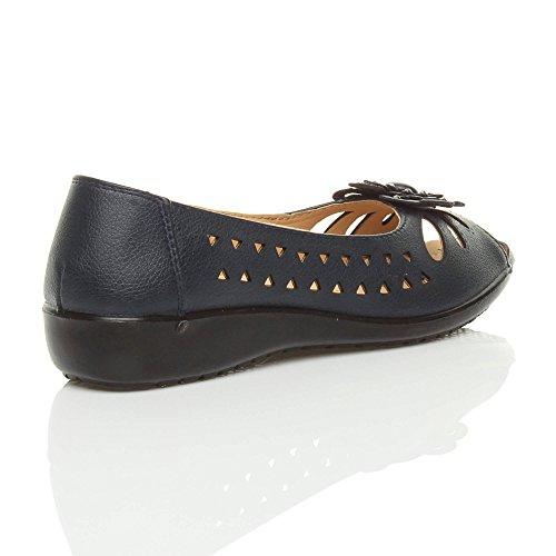 Damen Klein Keilabsatz Ausgeschnitten Komfort Peep Toe Sommerschuhe Sandalen Dunkelmarineblau