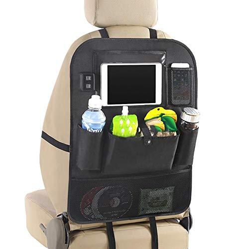 Seasaleshop Auto Rücksitztasche Rücksitz-Organizer mit 4 USB Perfekt für Kinder |Geräumige Rücklehnentasche für Reise-Utensilien & Spielzeug | Abwaschbarer Rücklehnenschutz