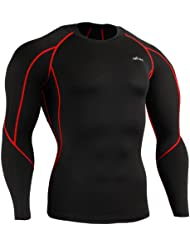 emFraa Homme Femme Sport Compression Black Base layer T-Shirt Long sleeve XS~2XL