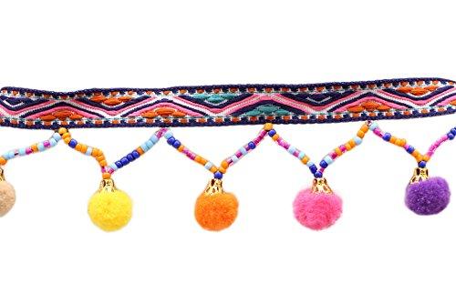 Yalulu 5 Yards Schwarz Retro Pom Pom Pompom Hairball Ball Lace Spitze Quaste Trim Band für DIY Fertigkeit und Dekorieren Nähen Kunst Zubehörteil