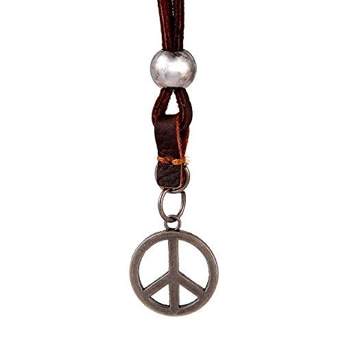 DonDon® Herren Halskette aus Leder mit silberfarbenen Peace Zeichen-Anhänger und Samtbeutel