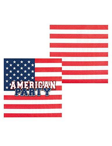 Generique - Papierservietten American Party 33 x 33 cm (Flagge Juli, 4.)