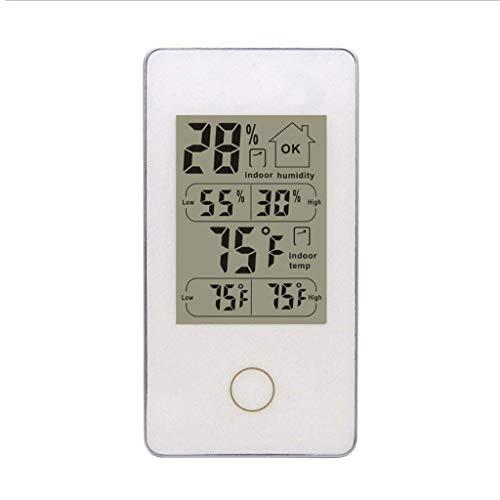 TangMengYun Innen- und Außentemperatur- und Luftfeuchtigkeitsmessgerät Digitale drahtlose Wetteruhrzeitanzeige Wetterstationen (Color : White)