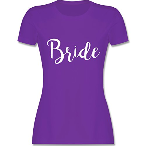 Shirtracer JGA Junggesellinnenabschied - Bride Lettering - Damen T-Shirt Rundhals Lila