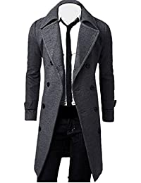 koly Hombres de invierno Slim elegante Trench Coat Double Breasted Chaqueta larga Parka