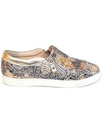 Gennia BOQUITA - Zapatillas Casual Sneakers para Mujer de Piel con Cierre de Cremalleras y Piso Blanco