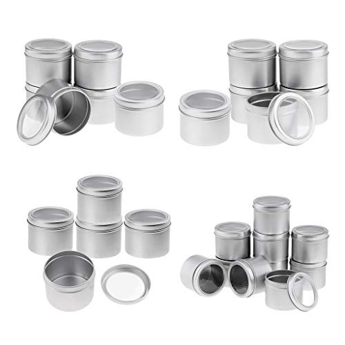Baoblaze 22 Pièces Boîtes Aluminium Vides de Baume à Lèvres Contenants en Etain Pots de Crème Cosmétique Pot de Bouteille