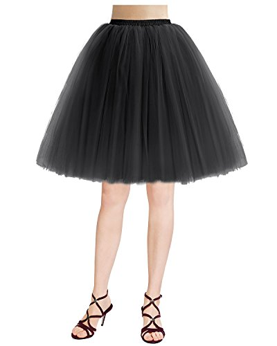 Bridesmay Damenrock 50S Retro Tüllrock Vintage Tutu Petticoat Partykleid Black (Tutu Petticoat)