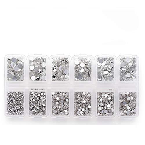 Strass brillanti rotondi e a base piatta, per progetti fai da te, 4200 pezzi in 6misure, da 1,5 a 4,8 mm