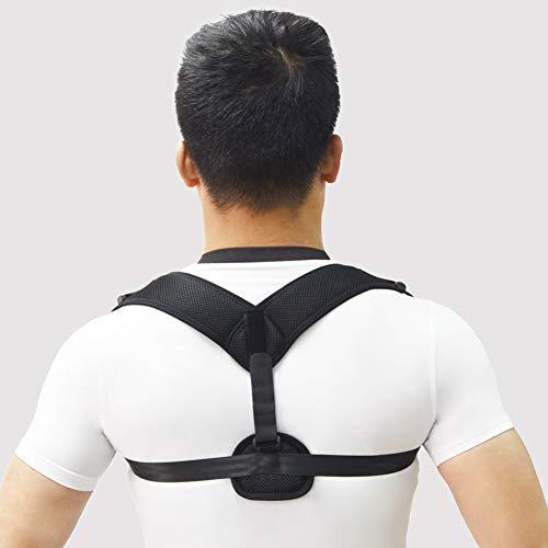 WSNH888 Corrector de Postura para Hombres y Mujeres Mejor Soporte de Hombro Espalda Superior Ajustable Terapia física Brace Postura de la médula espinal cómodo,Black