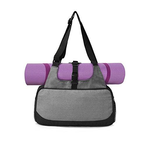 Yogatasche Sporttasche mit Nassfach für Hot Yoga Fans, als Weekender oder für's Fitness-Studio (Grau)