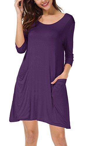 Damen 3/4 Ärmeln T-Shirt Kleid Lose Taschen Stretch Basic Kleider (XL, Lila)
