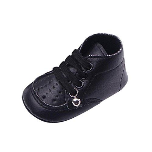 Janly Schuhe jany 0-12 Monate Jungen Mädchen High Sneaker mit Glocke First Walker Kind Infant Sneaker (6-12 Monate, Schwarz) (6 Boot Glocke)