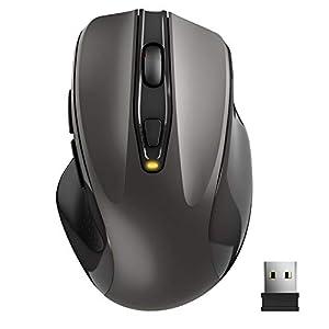 TedGem Kabellose Maus, Wireless Maus 2.4G Funkmaus, Tragbar mit USB-Nano-Empfänger, 6 Tasten, 5 Einstellbare DPI 2400/2000/1600/1200/800 für Laptop & PC, kompatibel mit Microsoft & macOS, Grau