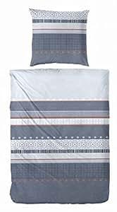 2 tlg Fleece Bettwäsche Garnitur Set Querstreifen, Größen: 135 x 200 cm und 155 x 220 cm Kissenbezug 80 x 80 cm, Farbe Grau, Größe 155 x 220 cm
