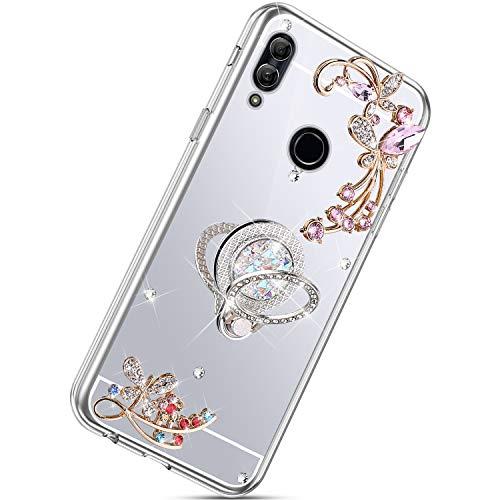 Herbests Kompatibel mit Huawei Nova 3i Hülle Glänzend Diamant Kristall Strass Glitzer Spiegel Schmetterling Blumen Handyhülle Silikon Schutzhülle Case mit Handy Fingerhalterung,Silber