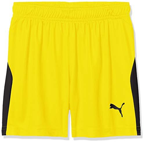 PUMA Kinder Liga Shorts, Cyber Yellow Black, 140 (Kinder Shorts Gelb Mesh)