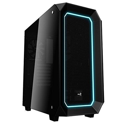 AeroCool P7C0 - PC Gaming Box (Semi-Tower, ATX, Seitenverkleidung aus gehärtetem Glas, 10 Farben und 3 LED-Beleuchtungsmodi, 7 Erweiterungssteckplätze, inkl. 12cm Hecklüfter), Farbe schwarz