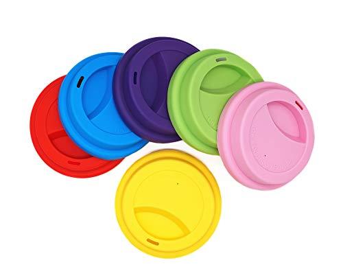 Silikon-Trinkdeckel, auslaufsicher, Tassendeckel, wiederverwendbar, Deckel für Kaffeetassen, 6 Stück Assorted 2