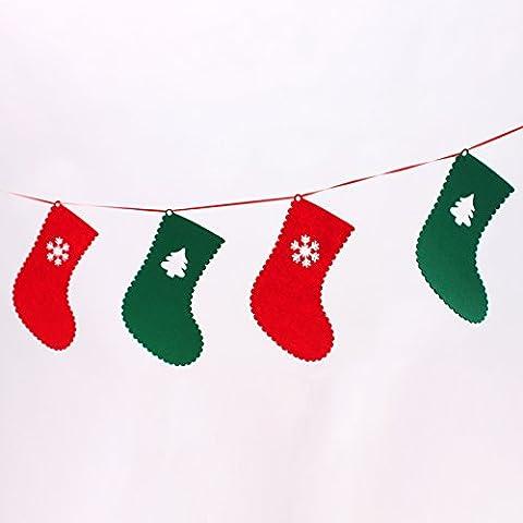 Bandiere di Natale feltro bandiera panno Banner Elk Natale decorazioni d'attaccatura ornamenti 2,2 m,Calze di Natale