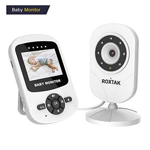 ROXTAK Baby Monitor, 2.4 LCD a Colori Wireless Digitale Videocamera,con visione notturna a infrarossi, talk back bidirezionale, monitoraggio temperatura, ninne nanne, batteria ad alta capacità