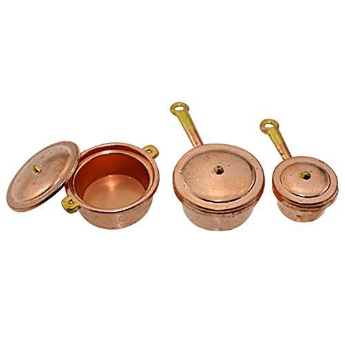 rycnet Miniatur-Puppenhaus-Möbel, Kochtöpfe, Kochtopf, Küchenutensilien, Kupfer und Gold, 3 Stück - Puppenhaus Möbel Miniaturen