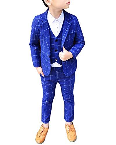 Niño Chico Conjunto Traje Tres Piezas Plaid Blazer Chaleco Pantalones Formal Set Azul 90