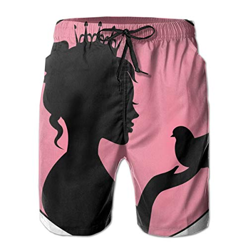 Men Swim Trunks Beach Shorts,Silhouette of A Princess with Her Crown Holding A Bird In Her Palm Royal Nobility M