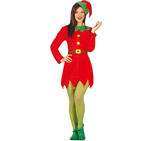 Guirca- Costume Elfo Donna Adulta Elfa, Colore Rosso e Verde, M,