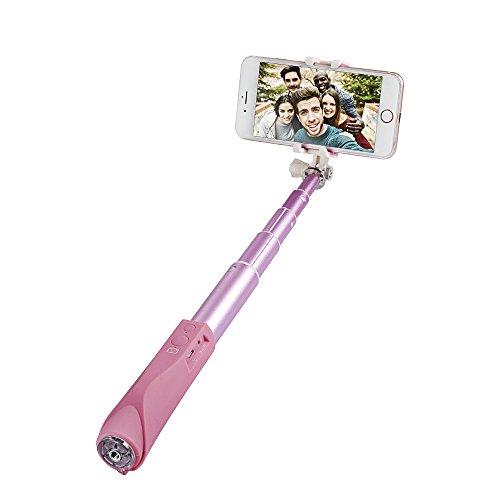 Agapo bastone selfie bluetooth selfie stick estendibile wireless,compatibile con smartphone di sistema ios e android -rosa