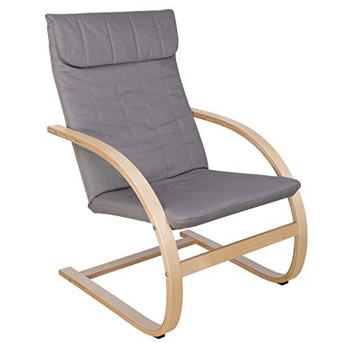 HOMECHO Schwingsessel Sessel Ruhesessel Freischwinger Stuhl 100{d975588018db7ab755297bcb7102eabf6632687093a35995f1c9d21d209bff57} Baumwolle Skandinavische Mode Grau Birkenholz Belastbarkeit 120 kg