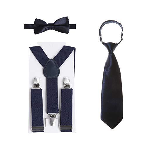 Kinder Hosenträger Fliegen Krawatten Sets - Einstellbar Elastisch Klassisch Hosenträger Fliegen Set für 6 Monate alte - 13-jährige Jungen & Mädchen (Navy blau, 80 cm(6 Jahre alt - 5 Fuß hoch)) (Baby-ring-bearer-outfit)