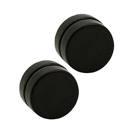 Tumundo set di 4 paia / 1 paio orecchini legno finto plug fakeplug tunnel piercing senza dilatazione magnete 8-14mm, colore::schwarz - 10mm / black/noir